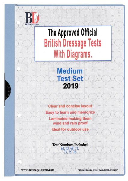2019 MEDIUM TEST SET: Official Laminated British Dressage Tests with Diagrams